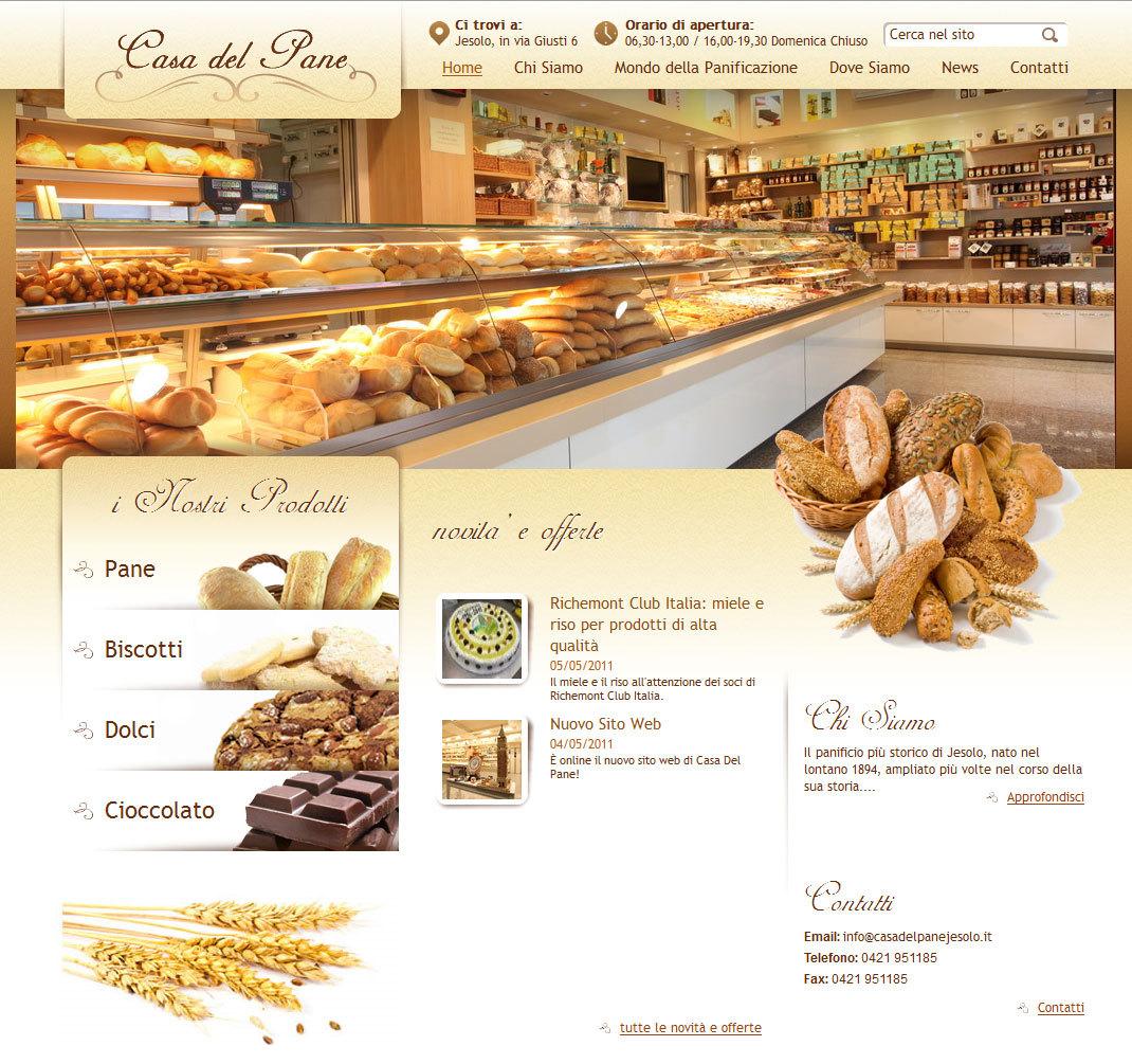 La casa del pane di jesolo online con il nuovo sito web for Sito web di progettazione della casa